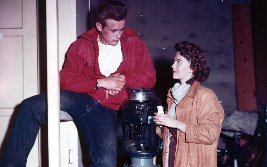 James Dean and Natalie Wood behind the scenes in 'Rebel Without a Cause.'