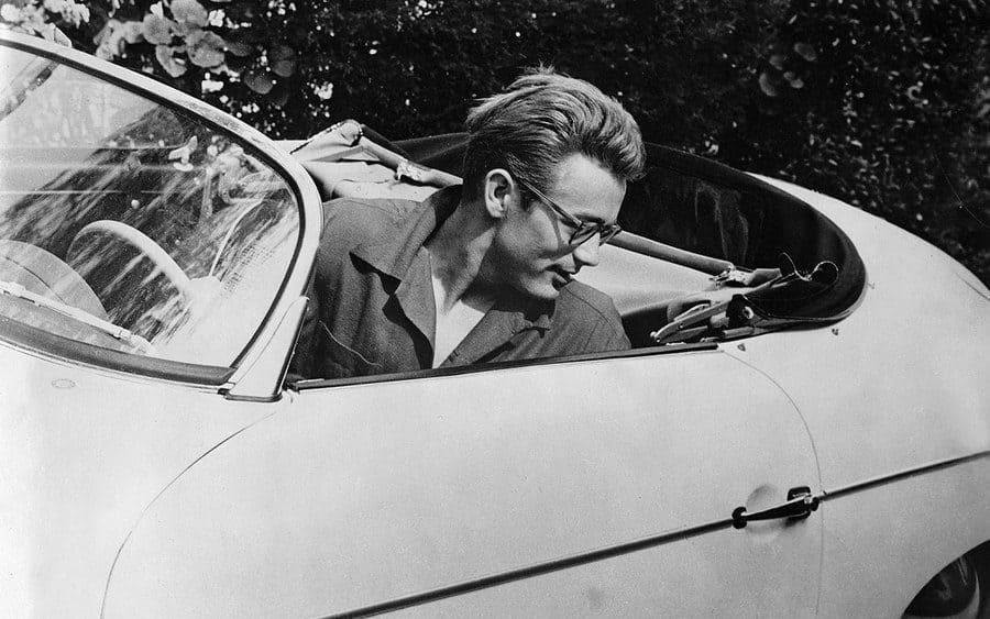 James Dean driving his Porsche.