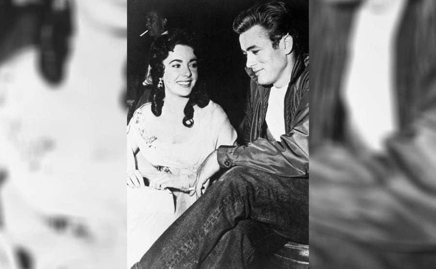 James Dean and Elizabeth Taylor on the set of 'Giant' in 1955.