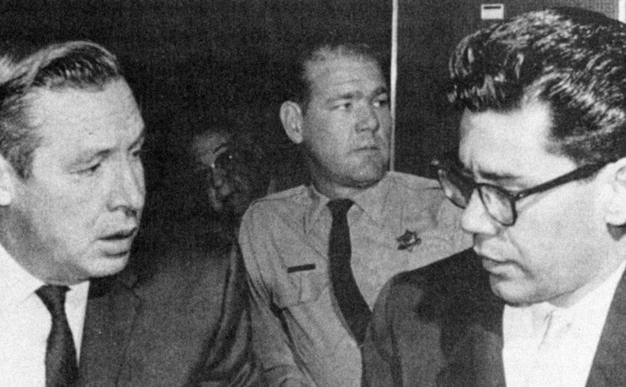 Ernesto Miranda and defense attorney John Flynn in court.