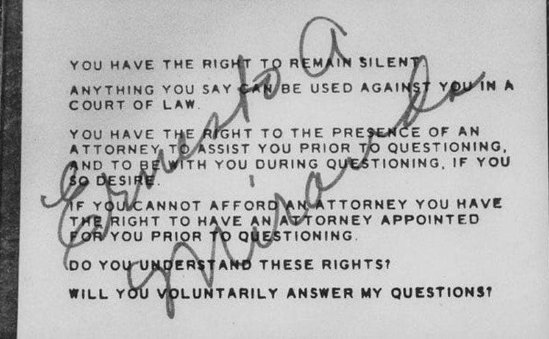 The Miranda Rights written out on a card and signed by Ernesto Miranda