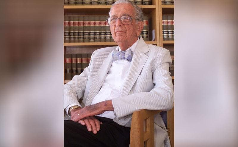 John P Frank, one of Miranda's lawyers, sitting in his office later on in life.