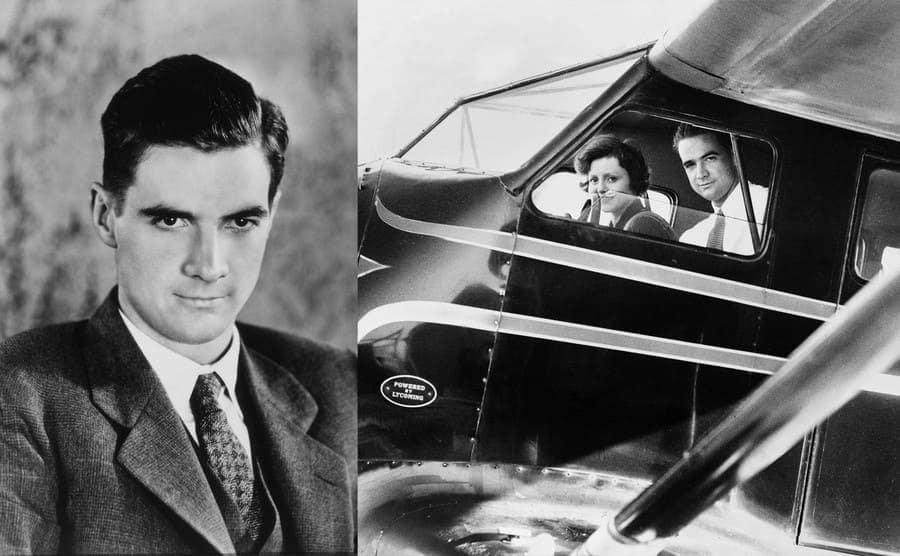 Howard Hughes circa 1930s. / Howard Hughes next to Nancy Carroll in the cockpit of a plane