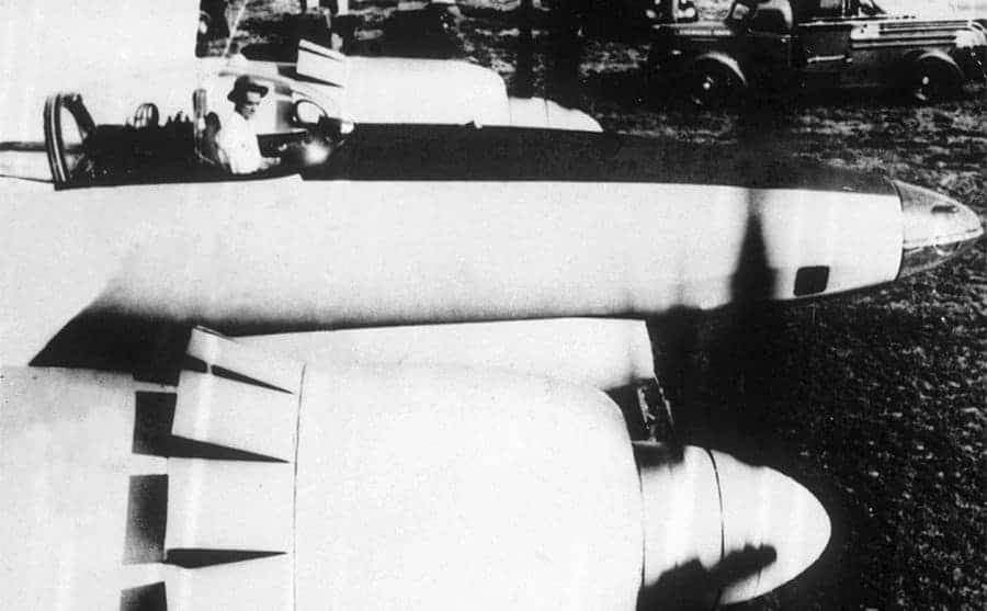 Howard Hughes in an airplane
