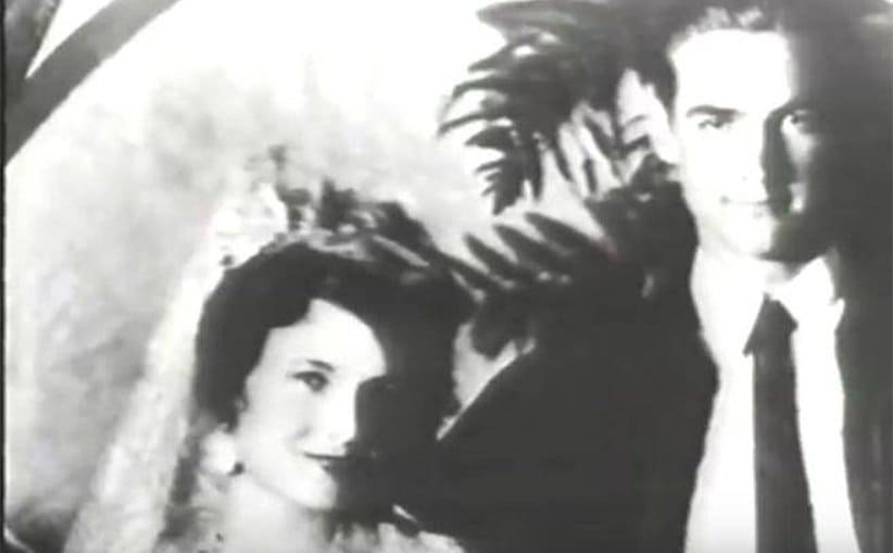 Howard Hughes with his wife Ella on their wedding day