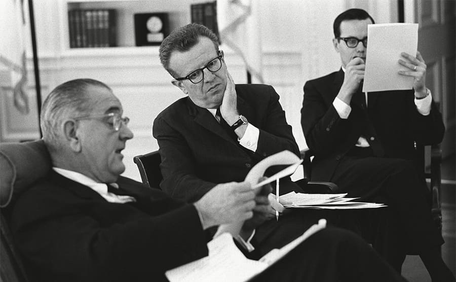 President Lyndon Johnson with Larry O'Brien circa 1965