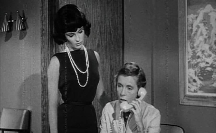 Sharon Tate and Roman Polanski at the secretary desk