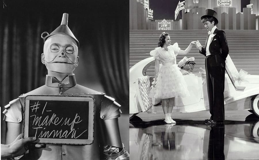 Buddy Ebsen with make up for the Tinman. / Buddy Ebsen with Judy Garland in Broadway melody of 1938.
