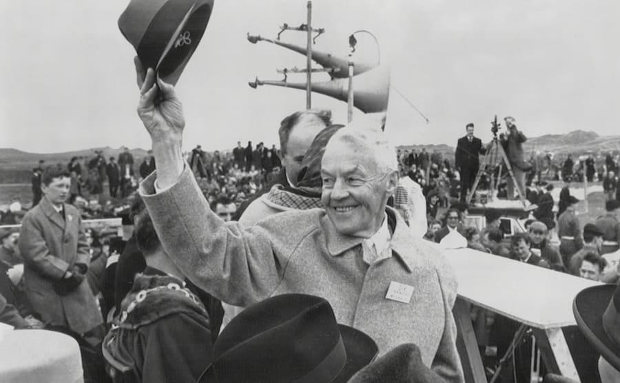 Captain Raimund Weisbach waving to a crowd