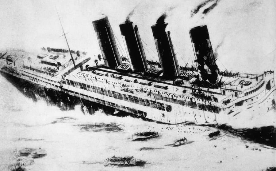 An illustration of the Lusitania sinking off of the Irish coast