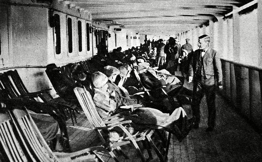 Passengers lounging on the deck of the Lusitania