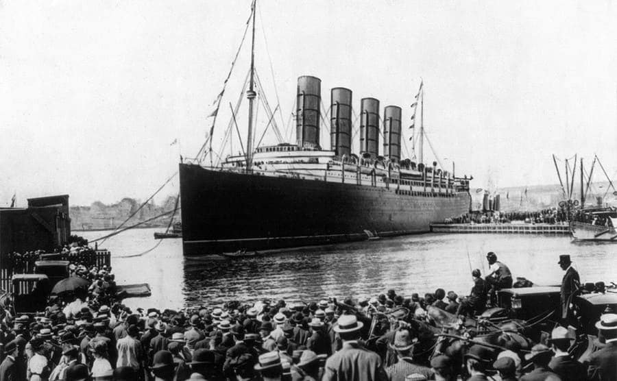 The Lusitania at the New York harbor on September 13th, 1907