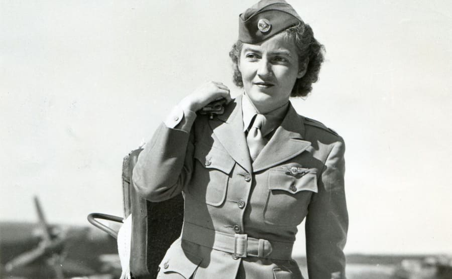 Nancy Harkness Love walking in-ground attire for WASP