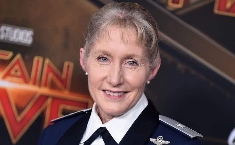 Brigadier General Jeannie Leavitt at the Captain Marvel film premiere wearing her uniform