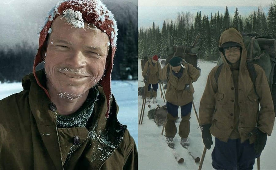 Igor Dyatlov / Thibeaux-Brignolle smiling with everyone preparing for the hike behind him