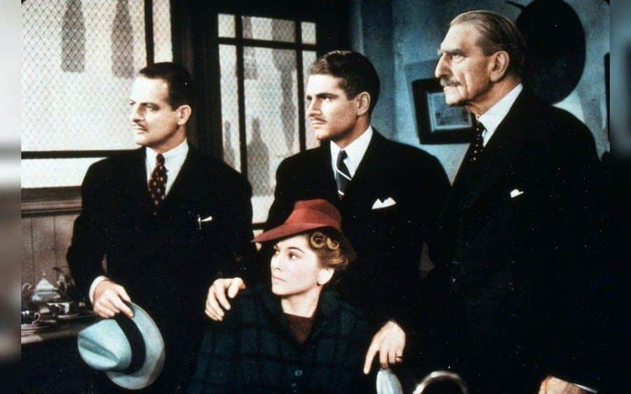 Film Stills of 'Rebecca' - Reginald Denny, Joan Fontaine, Alfred Hitchcock, Laurence Olivier, Aubrey Smith. 1940