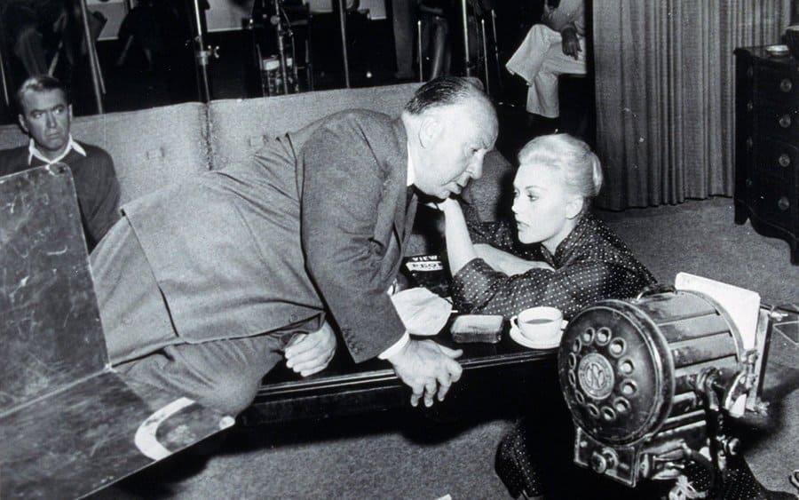 Film Stills of 'Vertigo' Behind the Scenes, Alfred Hitchcock, Kim Novak in 1958