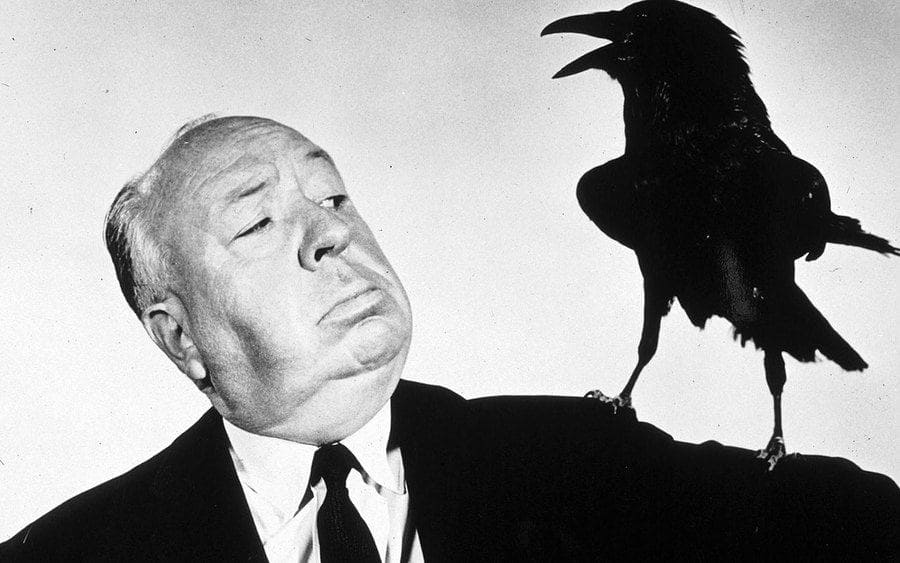 Alfred Hitchcock film director promoting the film 'The Birds'