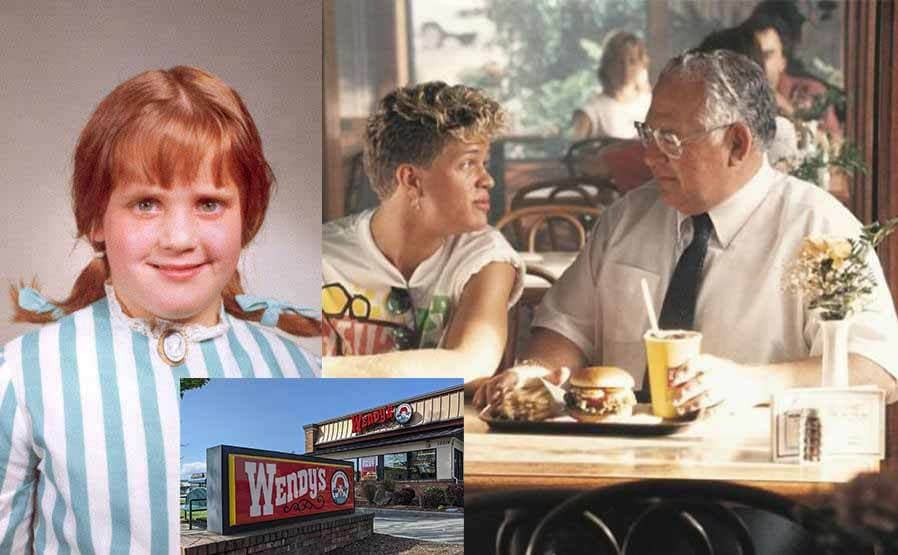 Melinda (nicknamed Wendy) posing in a school portrait with her red hair in pigtails sticking out to the side / Dave Thomas and a teenage boy sitting together in a Wendy's restaurant with a meal in front of them on the table / The outside of a Wendy's fast food restaurant on a sunny day