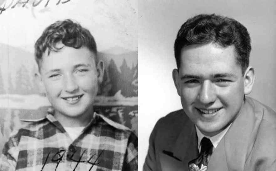 Dave Thomas photographed in a plaid shirt as a young boy in 1944 / A photograph of Dave Thomas in his high school years