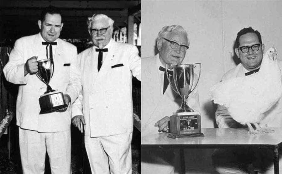 Two photographs of Dave Thomas and Colonel Sanders posing together with a trophy