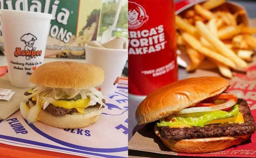 A Kewpee hamburger next to a photograph of a Wendy's burger