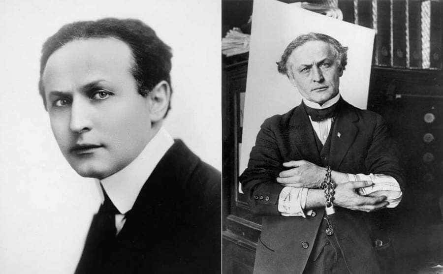 A younger Harry Houdini / Harry Houdini in handcuffs before one of his escapes