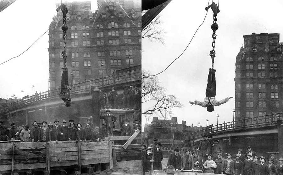 Houdini hanging midair over a subway excavation wearing a straightjacket in New York City / Houdini hanging in the same spot with the jacket off
