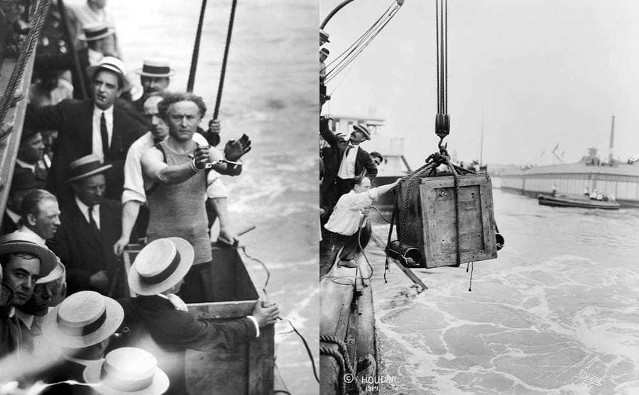 Houdini showing everyone that his handcuffs are on while standing at the side of a boat in the the New York Harbor / Houdini inside of a large box being lowered into the New York Harbor