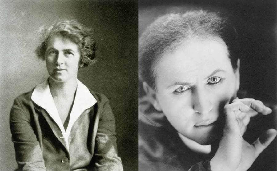 Mina Crandon posing for a portrait / Harry Houdini posing for a portrait
