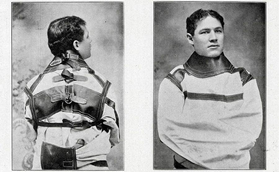 Theodore Hardeen in a straightjacket with a back and front view