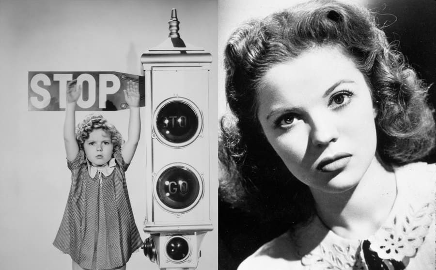 Shirley Temple standing with her hands up in front of a stoplight / Shirley Temple in That Hagen Girl