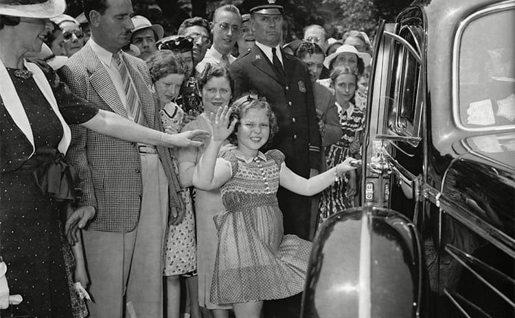 Shirley Temple leaving the White House after visiting President Franklin Roosevelt