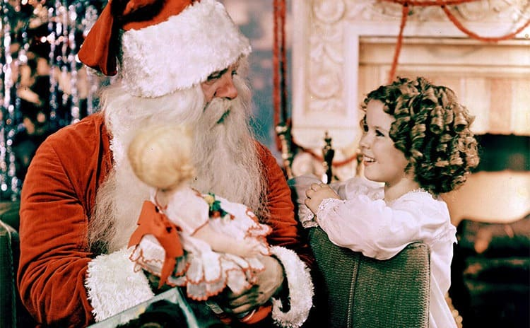 Shirley Temple talking to Santa Claus