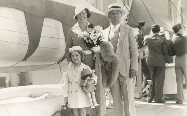 Shirley Temple on vacation with her parents