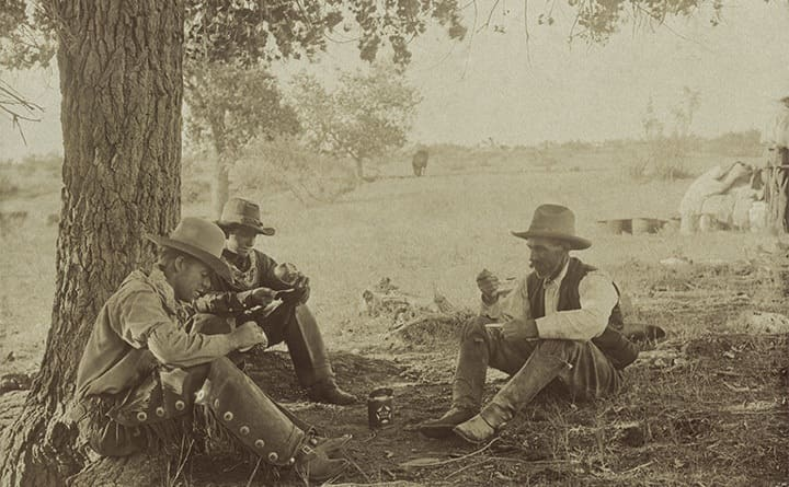 Cowboys sitting under a tree eating dinner and drinking
