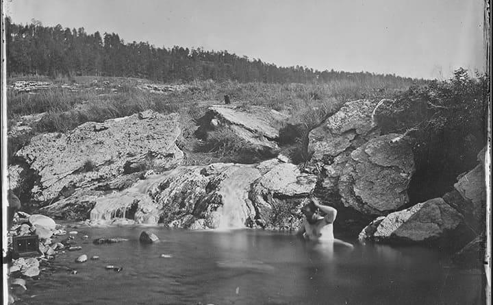 A man bathing in Pagosa Hot Spring, Colorado