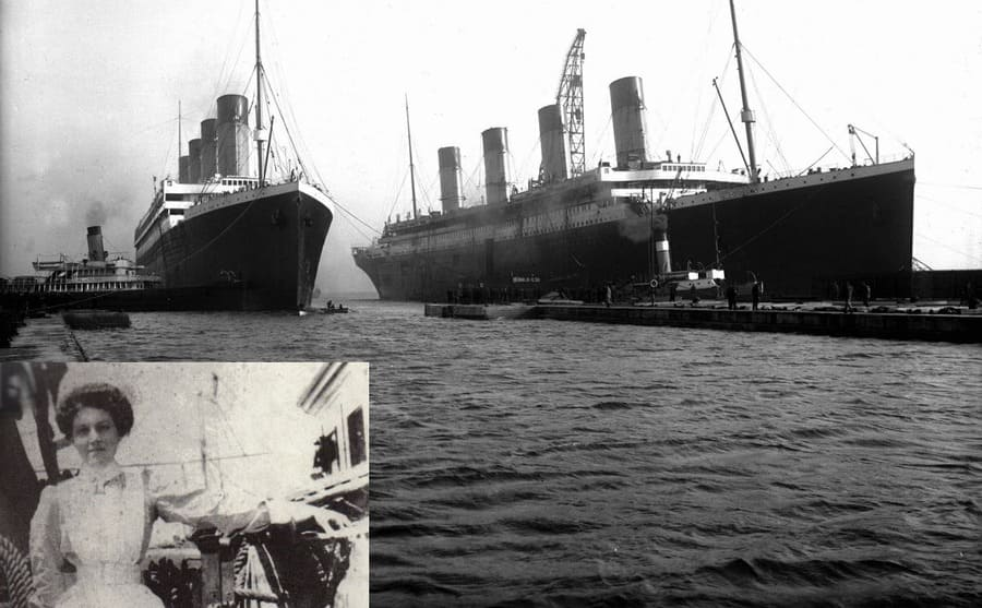 Violet Jessop leaning on the side of the ship aboard the Orinoco / The Titanic and Britannic docked together