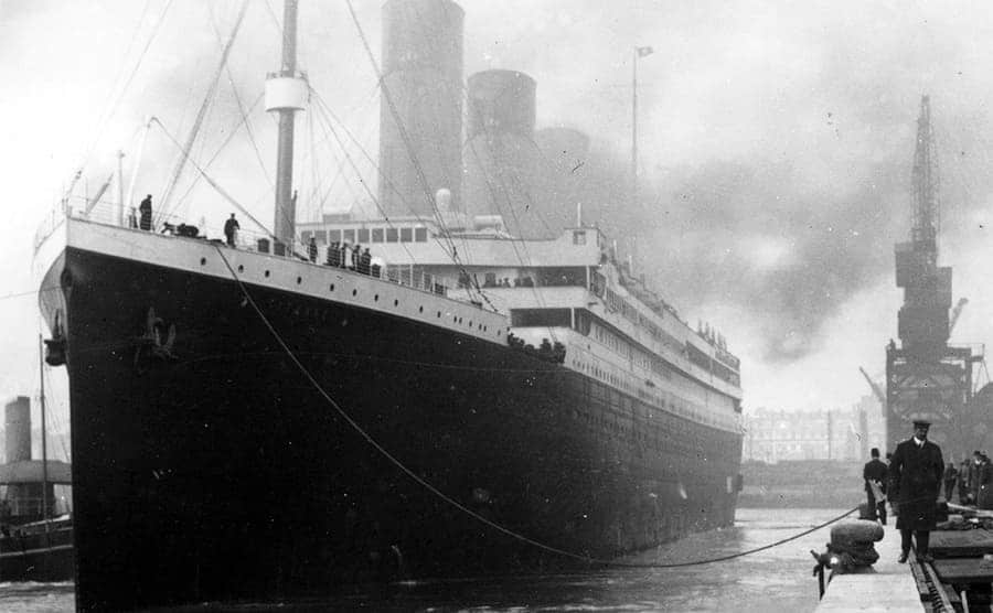 The Titanic docked at a harbor