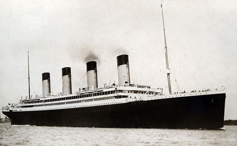 The RMS Olympic in the water
