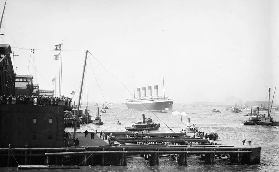 The RMS Olympic arriving at the New York Harbor