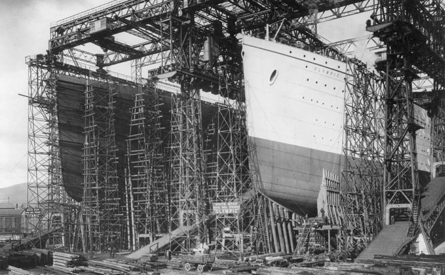 The Olympic and Titanic under construction in Belfast, Northern Ireland