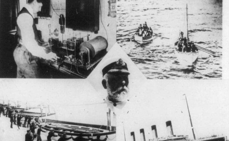 A wireless operator on the SS Carpathia receiving distress message and lifeboats bringing survivors to the Carpathia