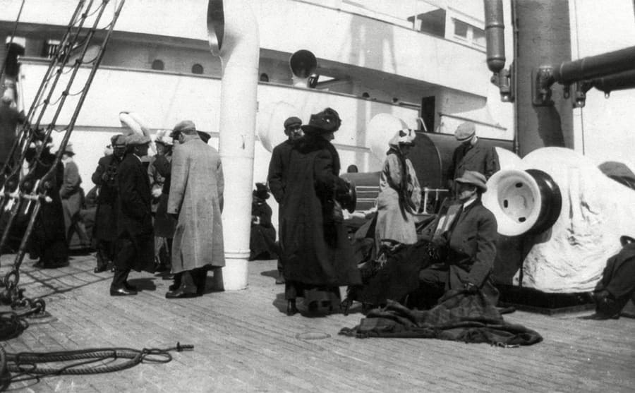 Groups of Titanic survivors aboard the Carpathia