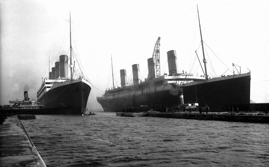 The Titanic and Britannic docked together