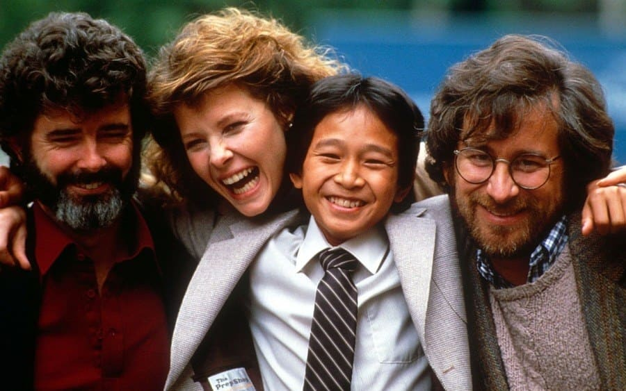 George Lucas, Kate Capshaw, Ke Huy Quan, and Steven Spielberg