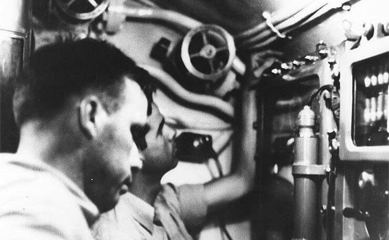 Dudley Morton in the conning tower of the USS Wahoo during an attack on January 26th, 1943