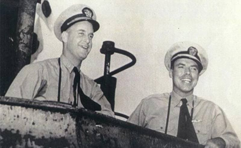 Dudle Mortan and another Navy officer on the open bridge of the USS Wahoo