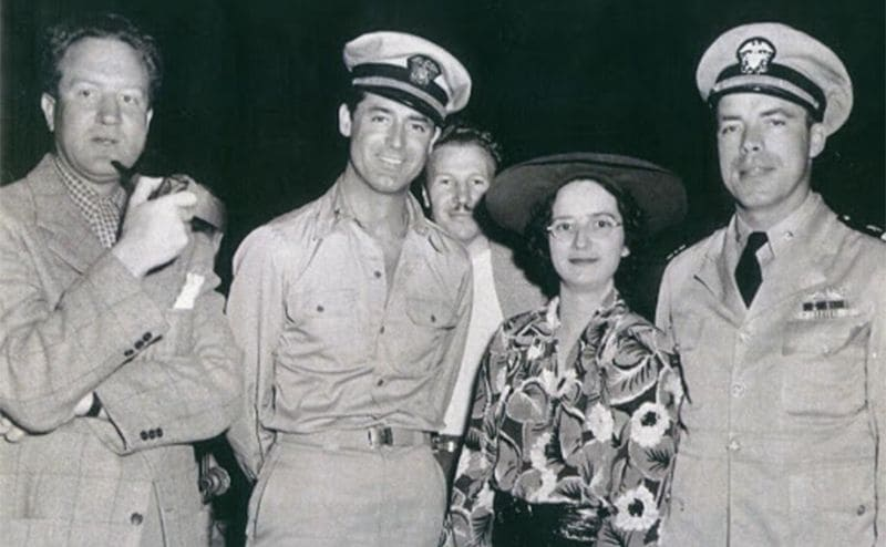 Delmer Daves, Cary Grant, Harriet Morton, and Dudley Mush Morton posing together