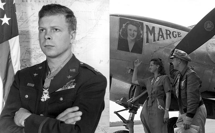 Richard Bong in uniform / Richard and Marge Bong next to his plane while she points to the photograph of her on it